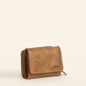 ROOTS TRIFOLD WALLET BROWN LEATHER